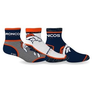 Denver Broncos Socks Quarter Length 3 Pack